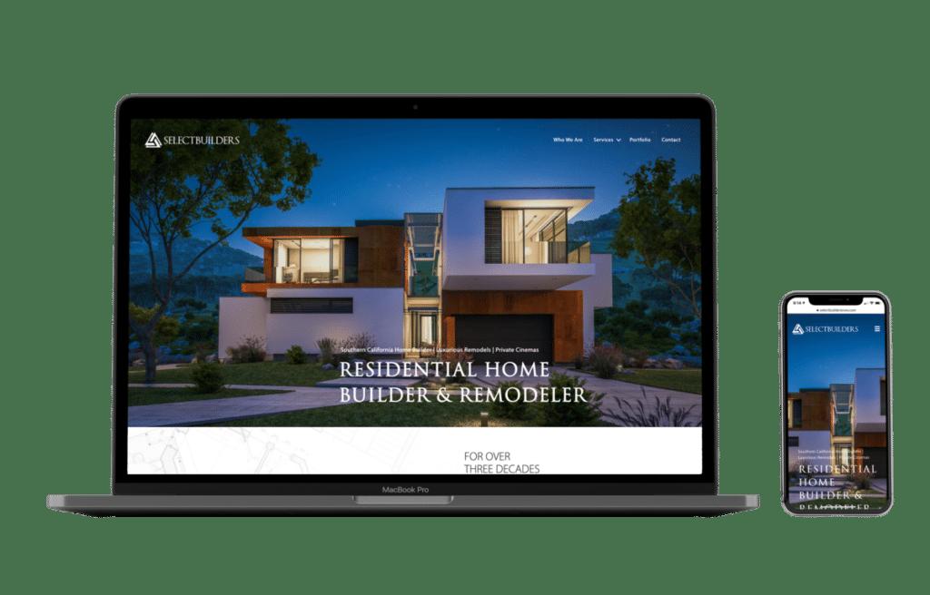 Select Builders website shown in MacBook Air and iPhone